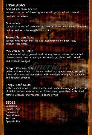 menu for El Parasol