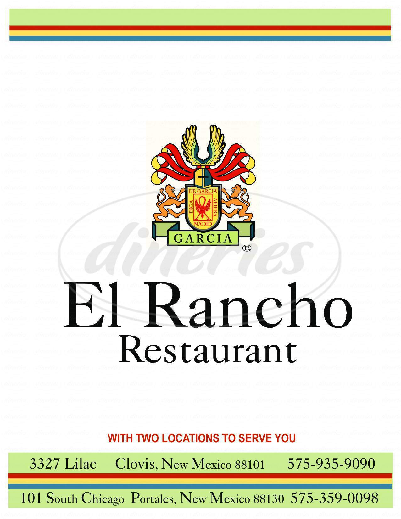 menu for El Rancho Restaurant