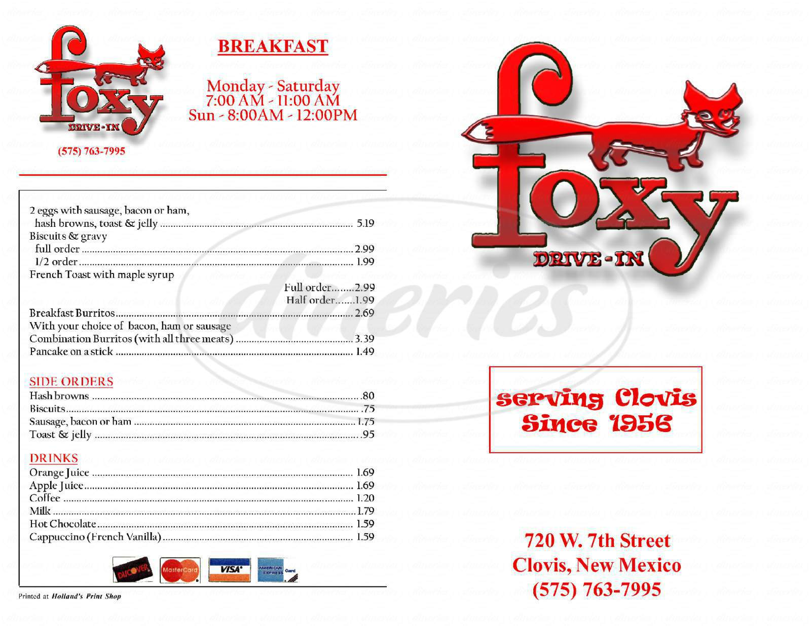 menu for Foxy Drive-In