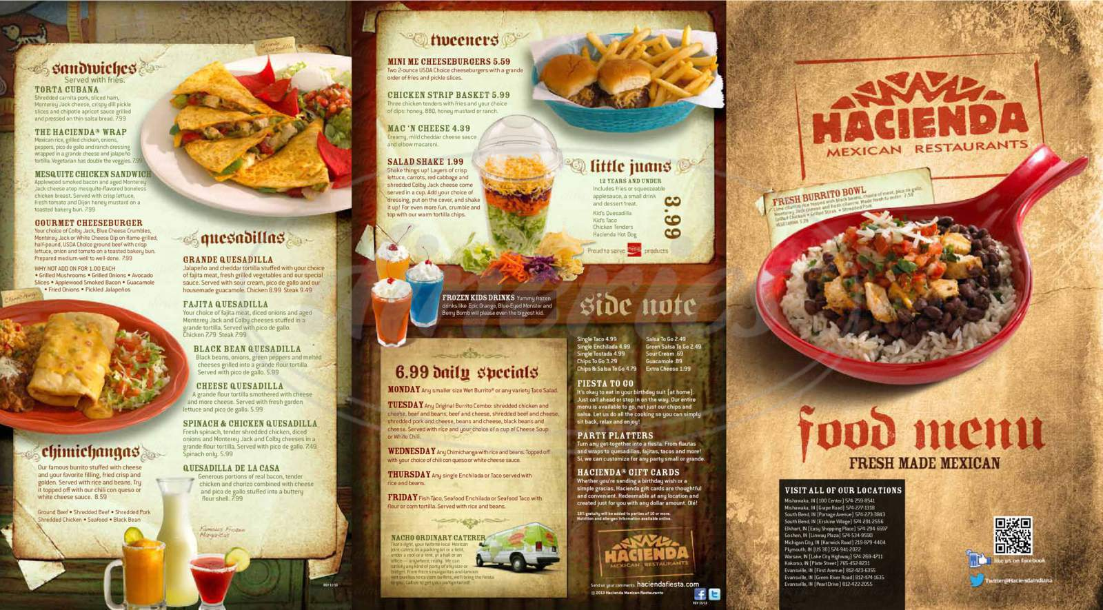 menu for Hacienda Mexican Restaurant