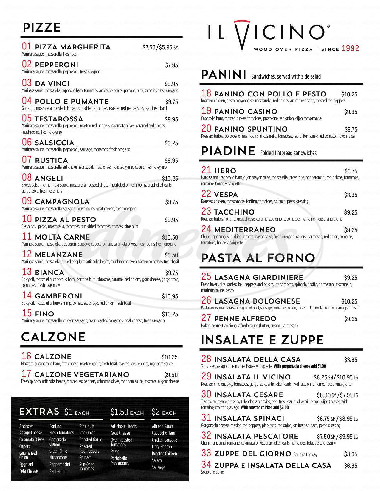 menu for Il Vicino Wood Oven Pizza