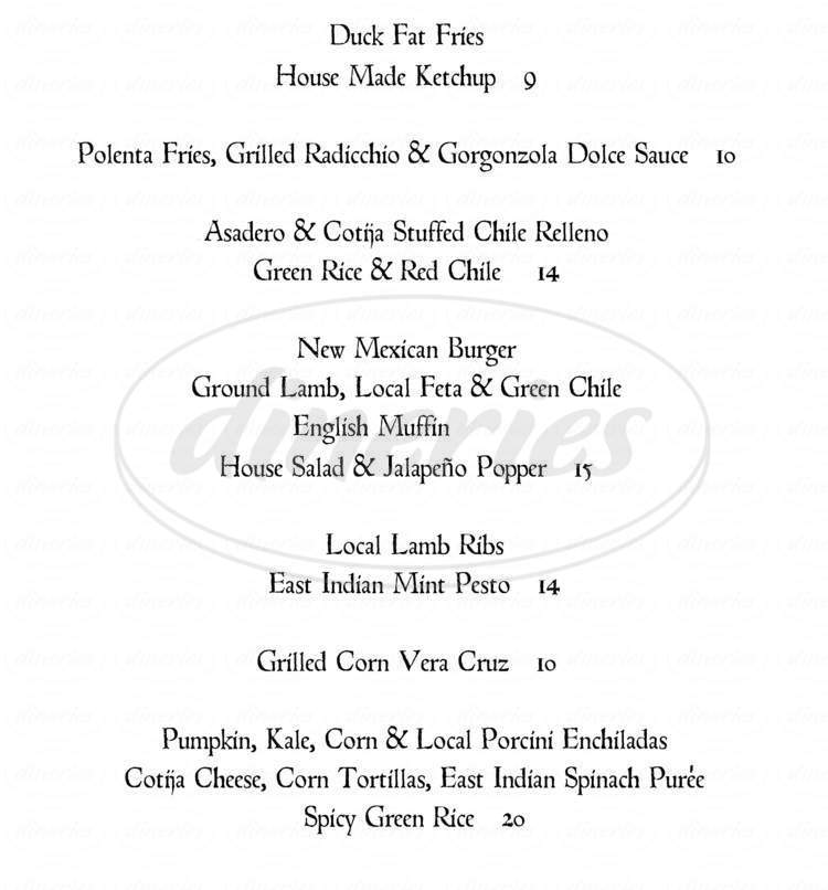 menu for Joseph's Culinary Pub