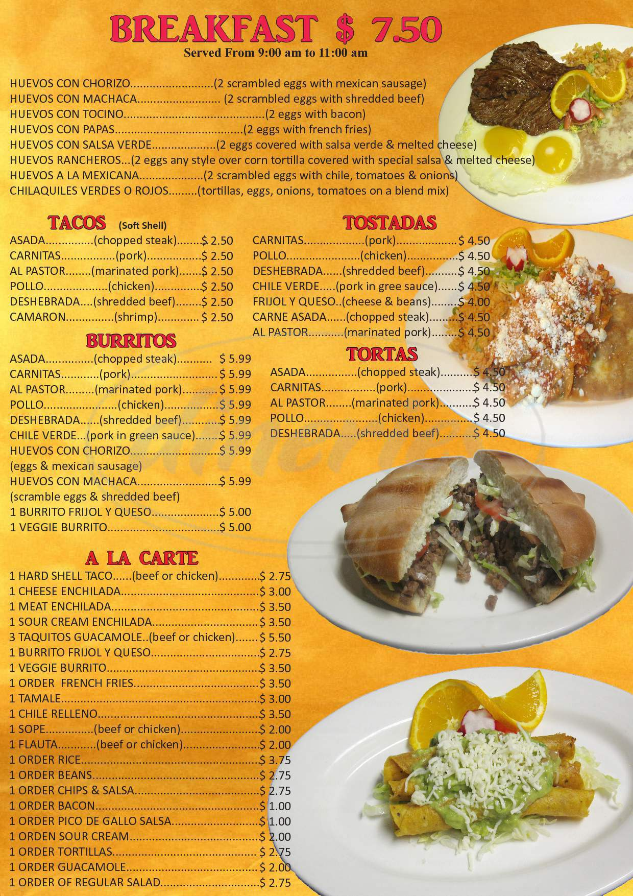 menu for La Sierra