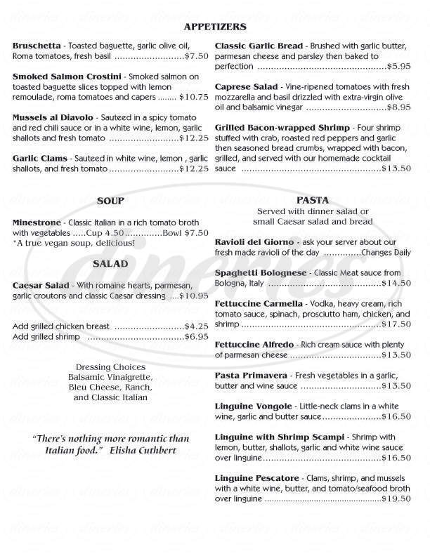 menu for Michael J's