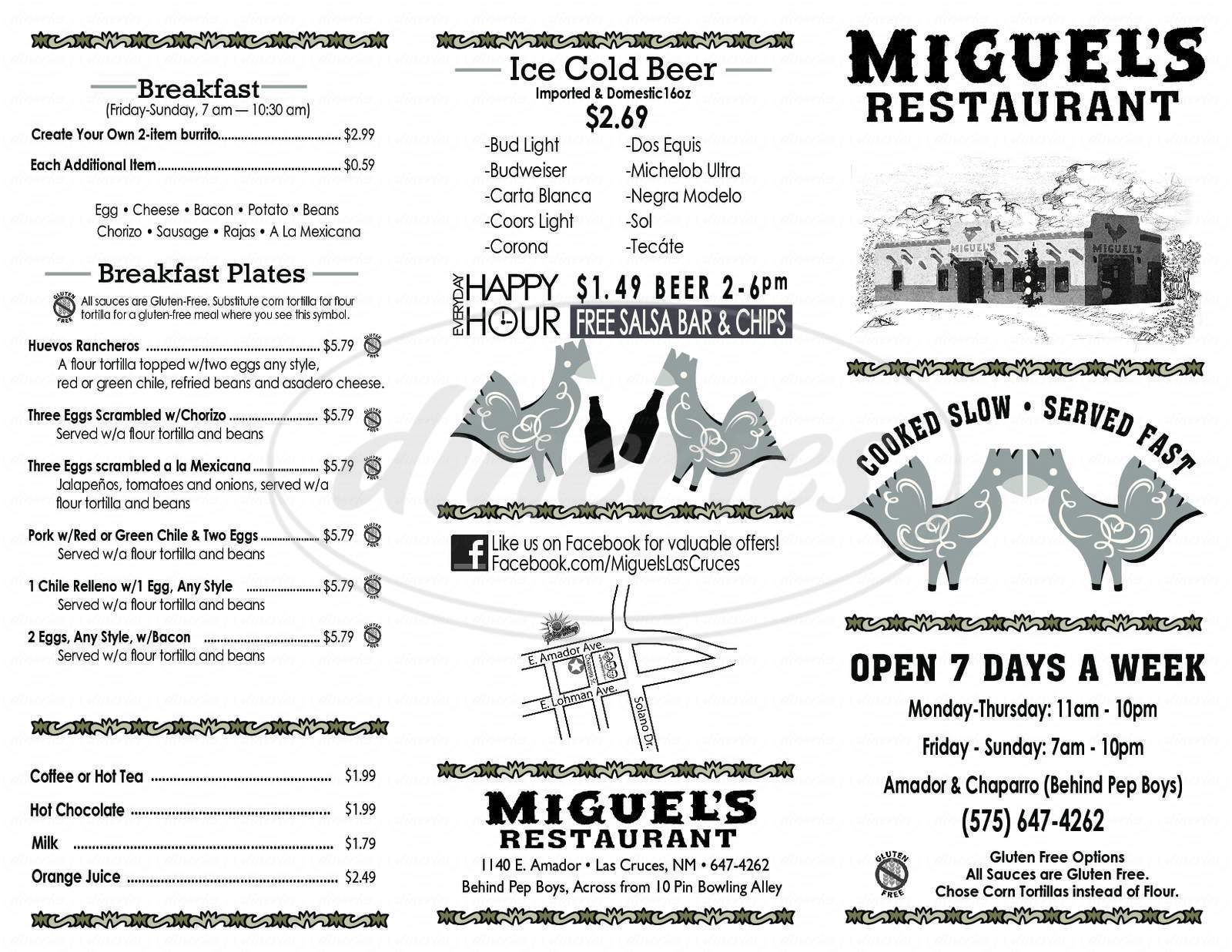 menu for Miguel's