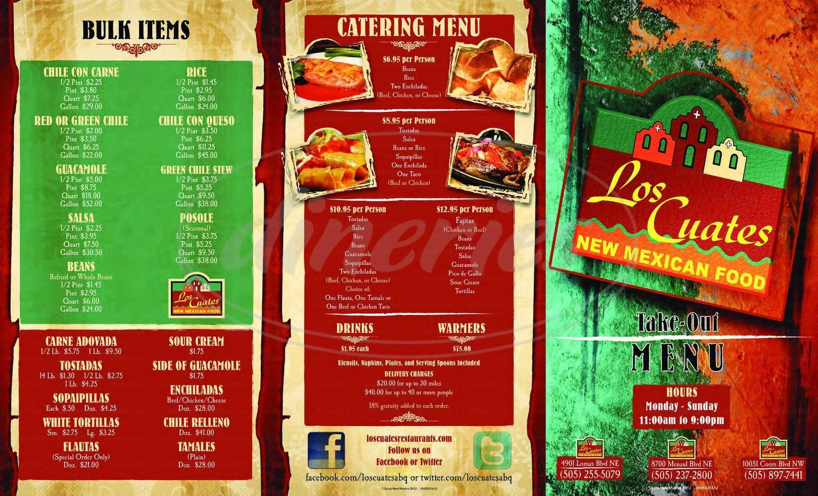 menu for Los Cuates