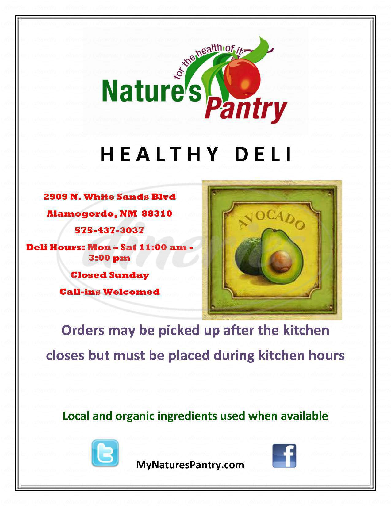 menu for Nature's Pantry