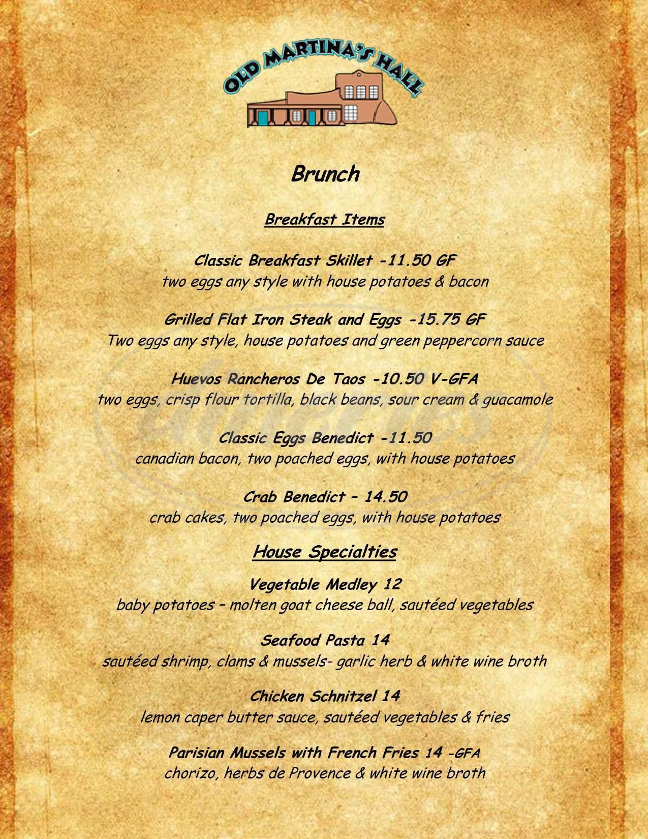 menu for Old Martina's Hall