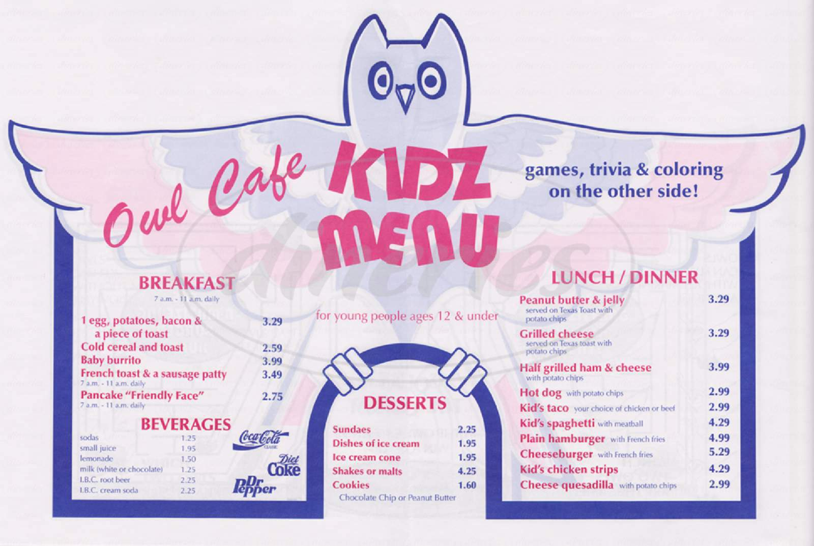 menu for The Owl Cafe