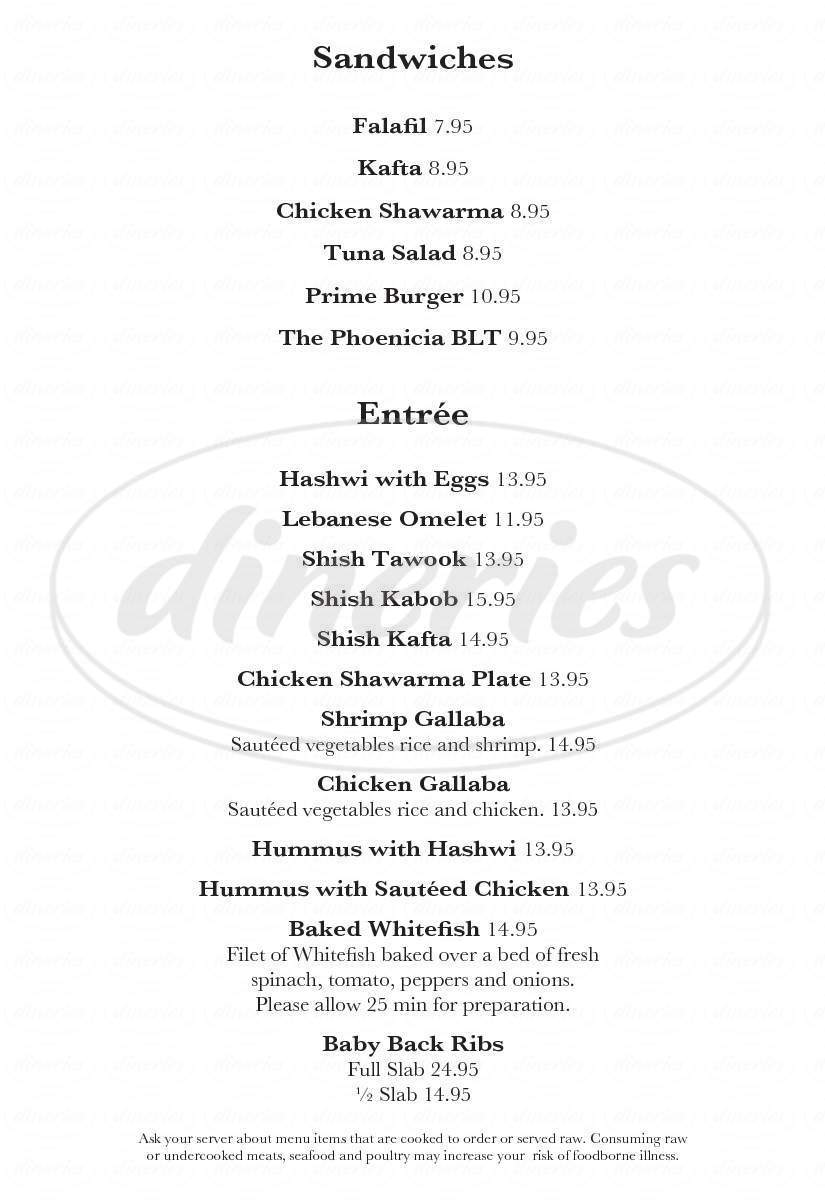 menu for Phoenicia