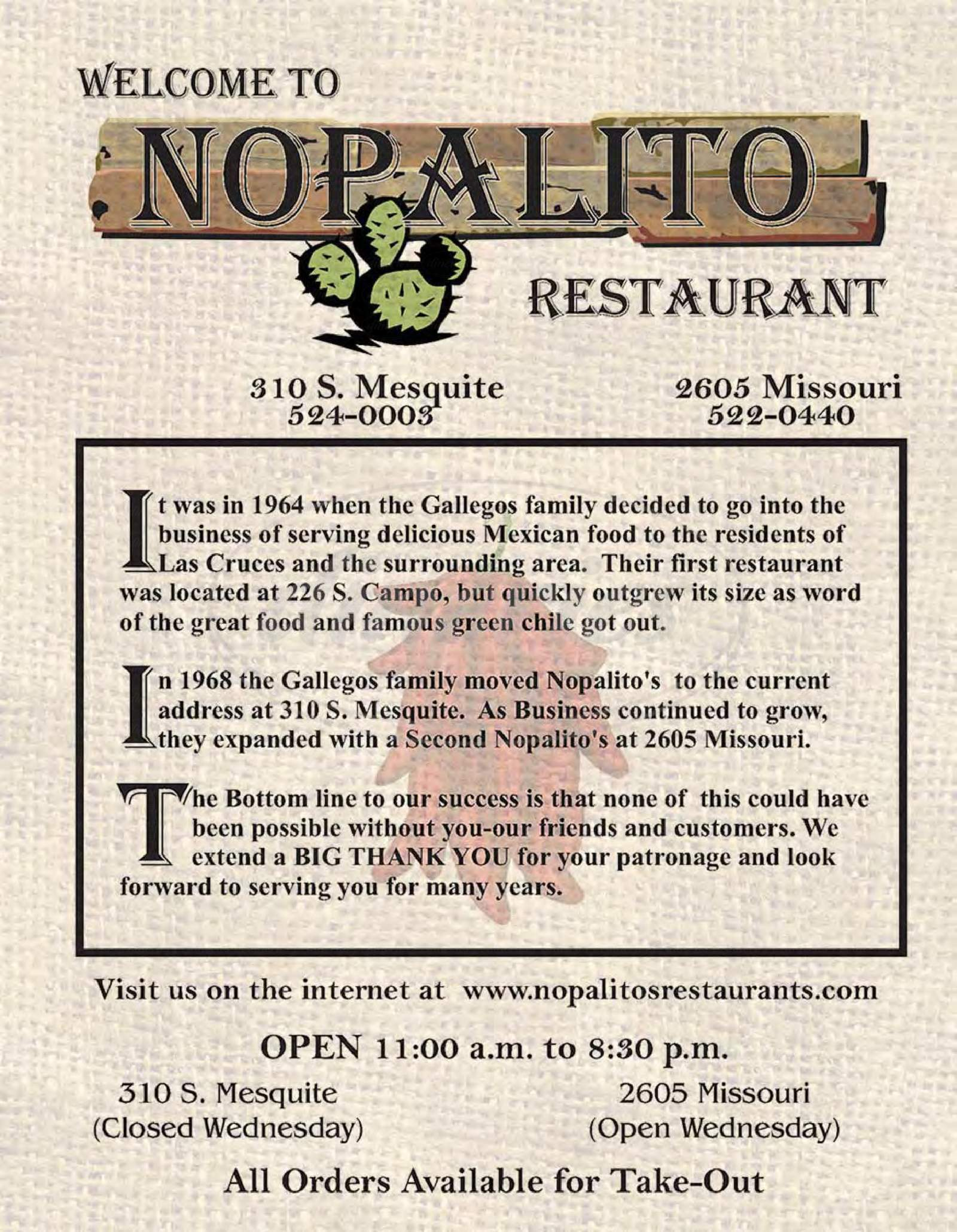 menu for Nopalito Restaurant