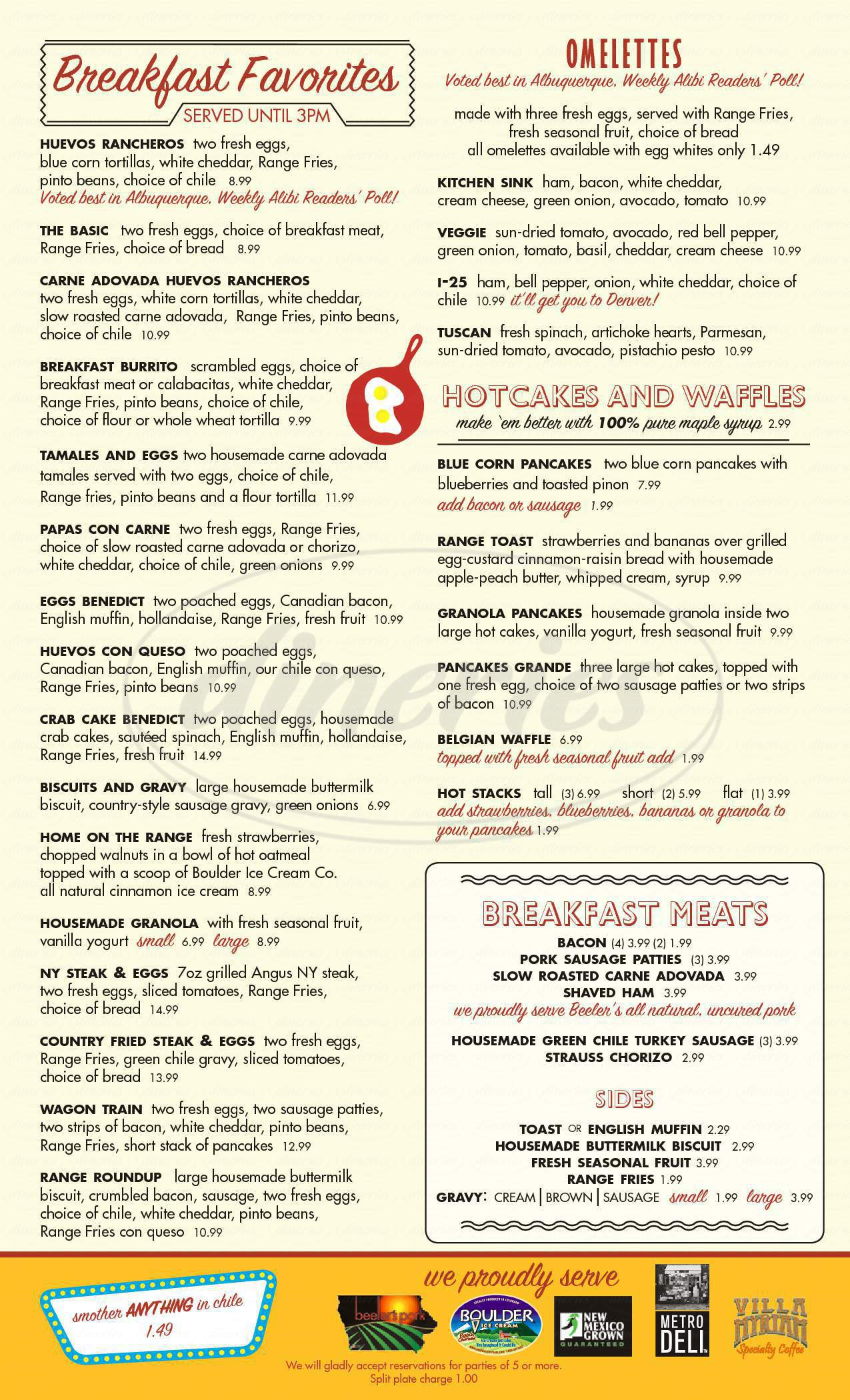 menu for The Range Café