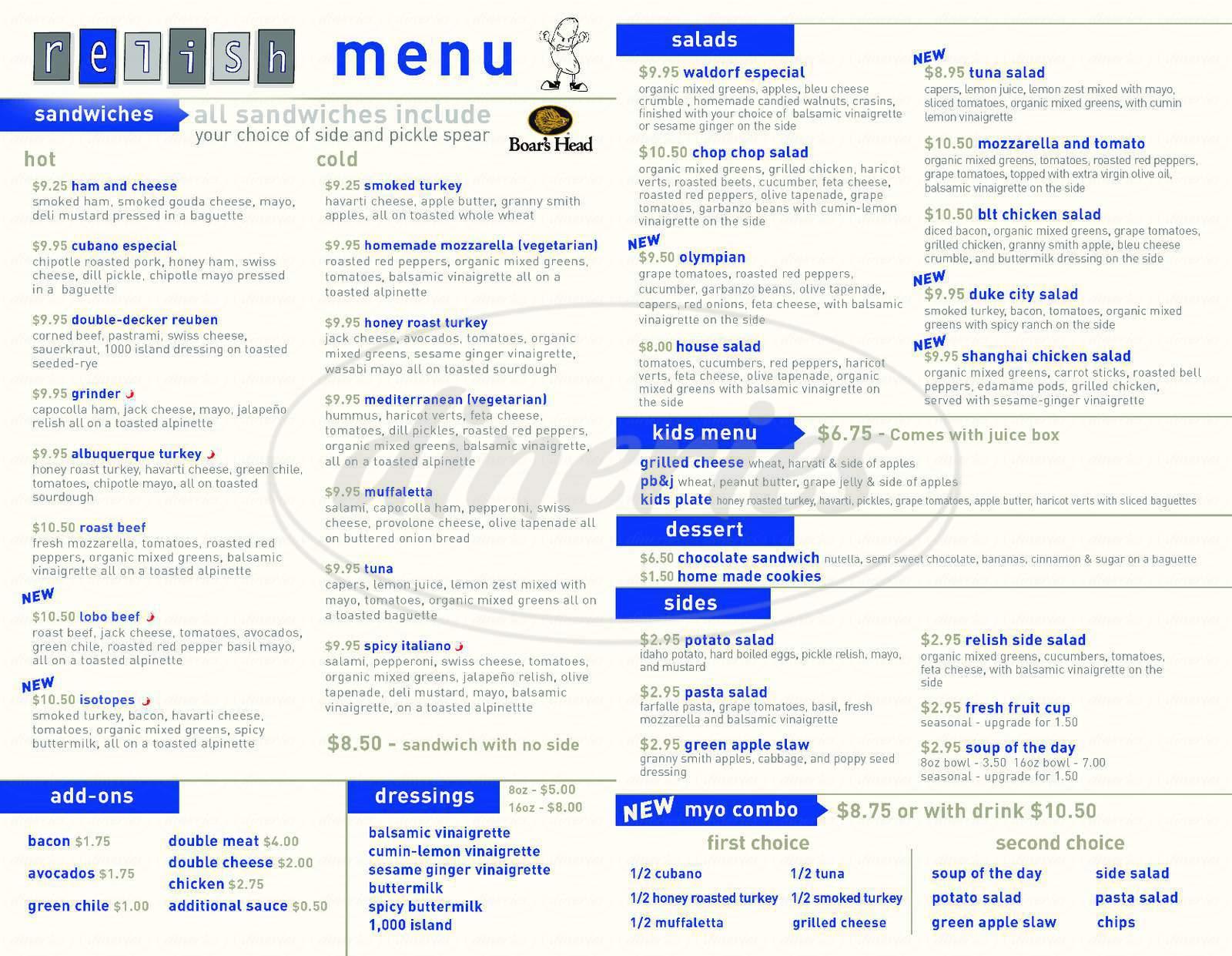 menu for Relish Gourmet Sandwiches