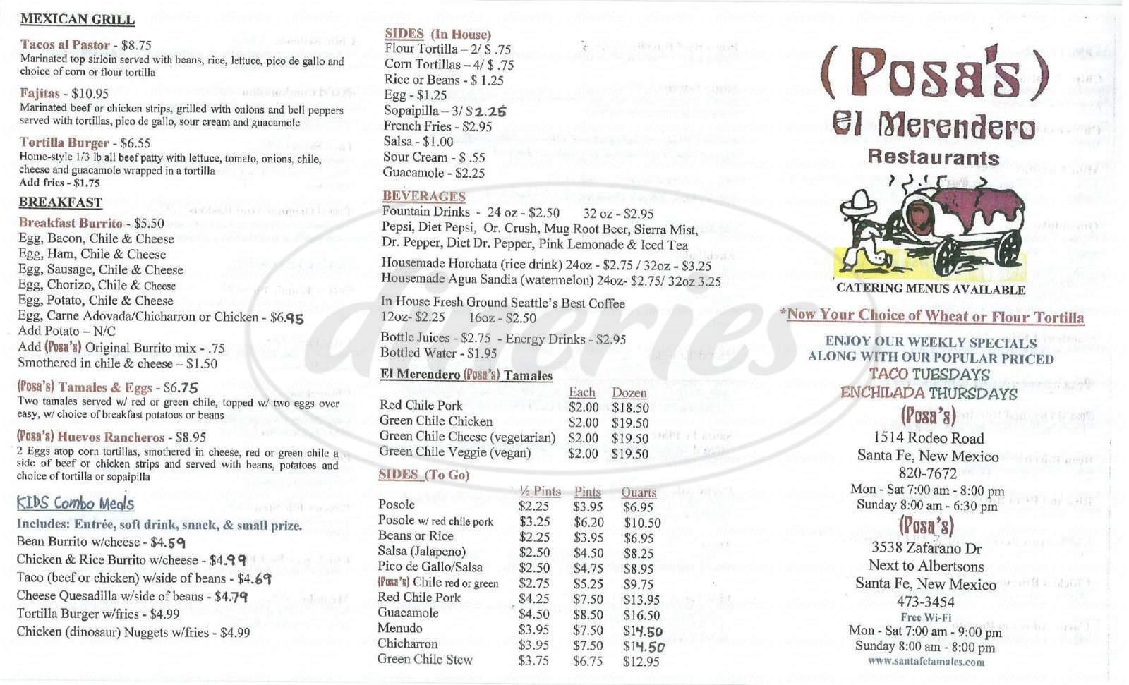 menu for Posa's El Merendero