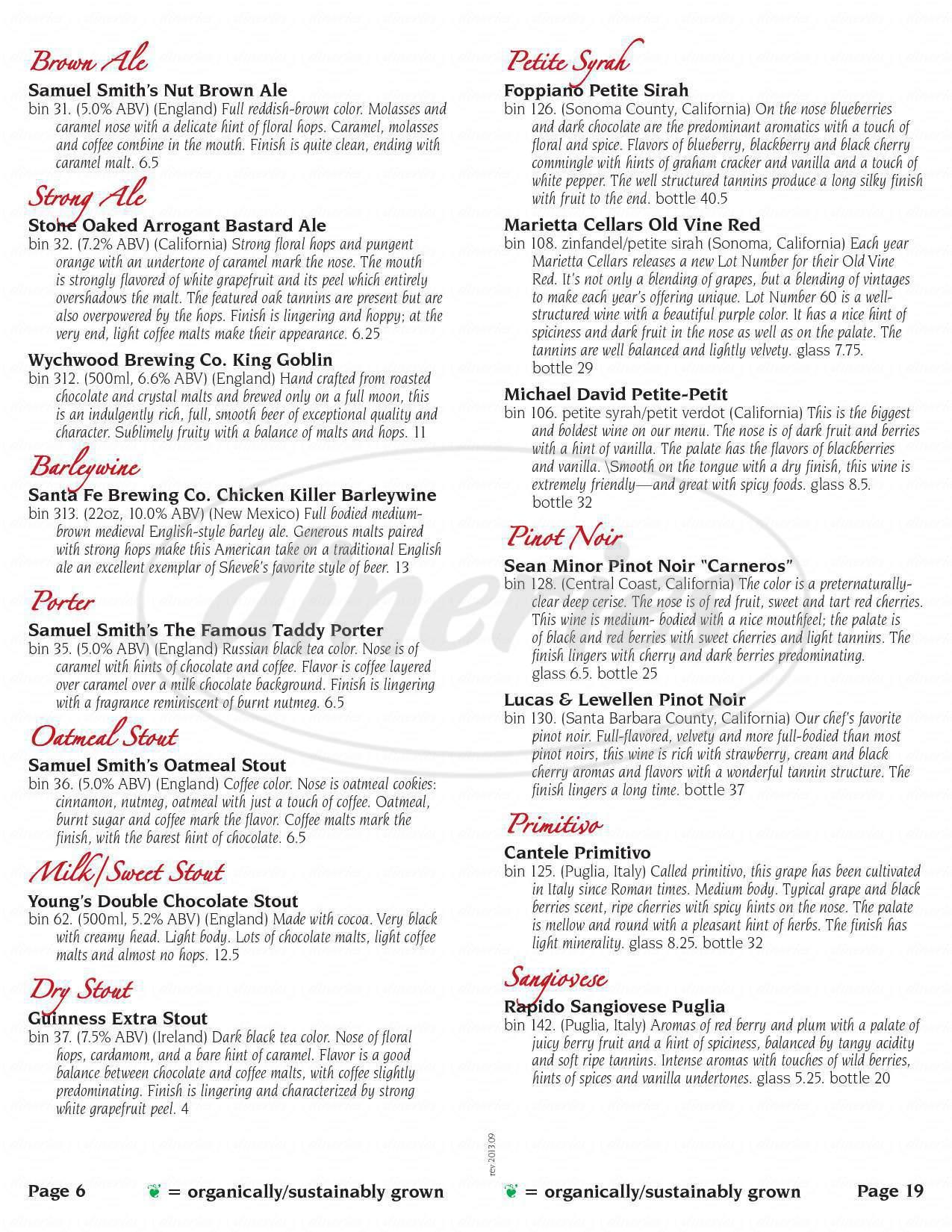 menu for Shevek & Co. Restaurant