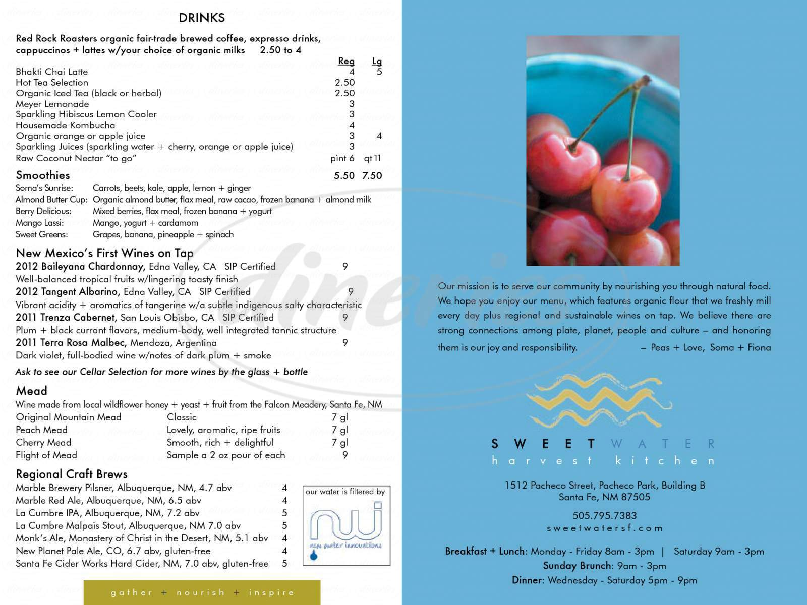 menu for Sweetwater Harvest Kitchen