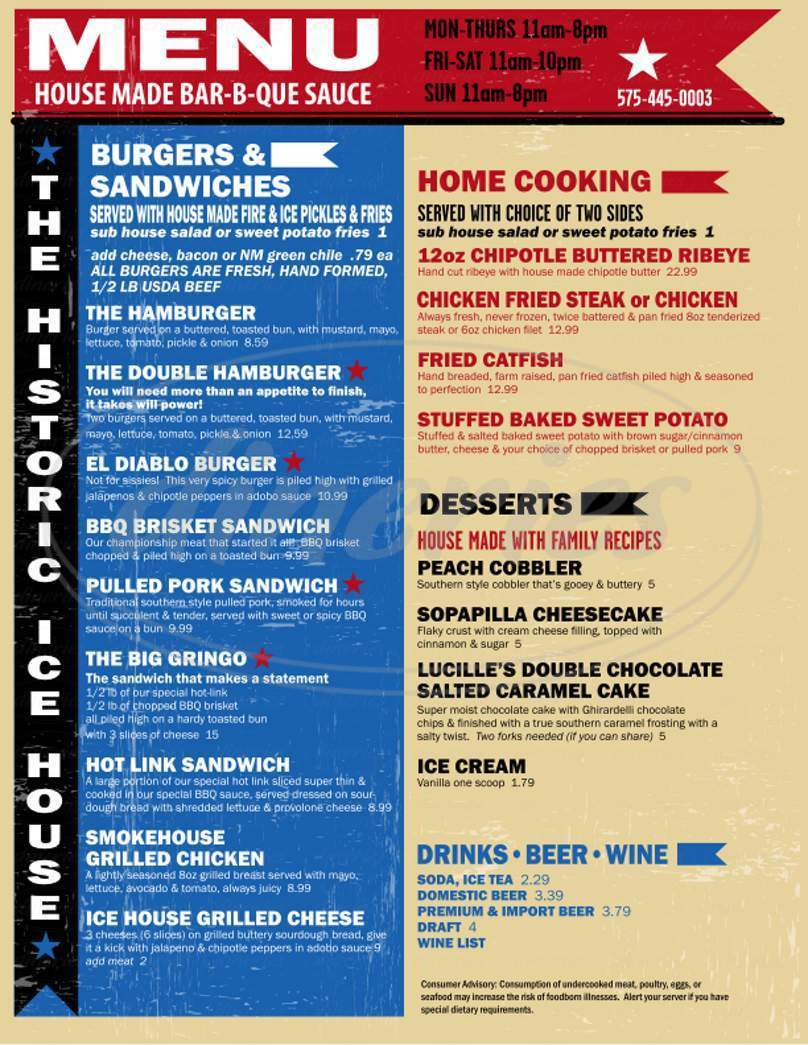 menu for The Historic Icehouse