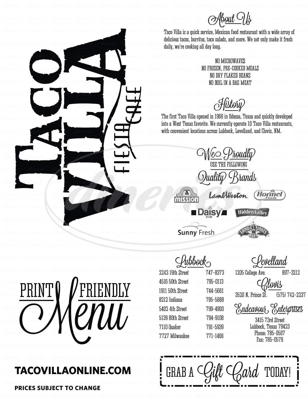 menu for Taco Villa