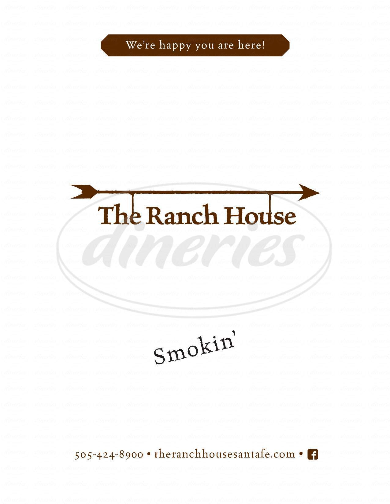 menu for The Ranch House