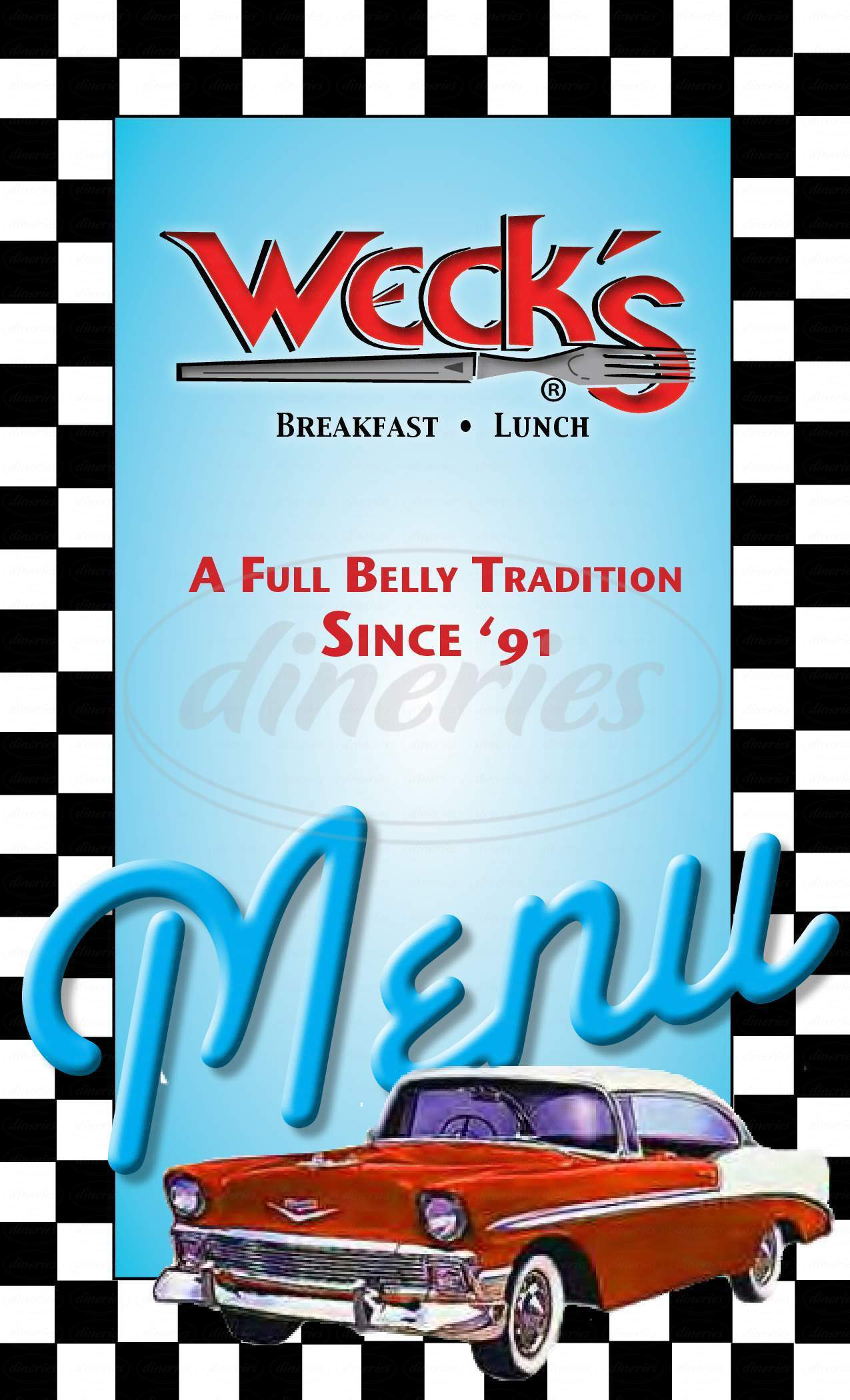 menu for Weck's