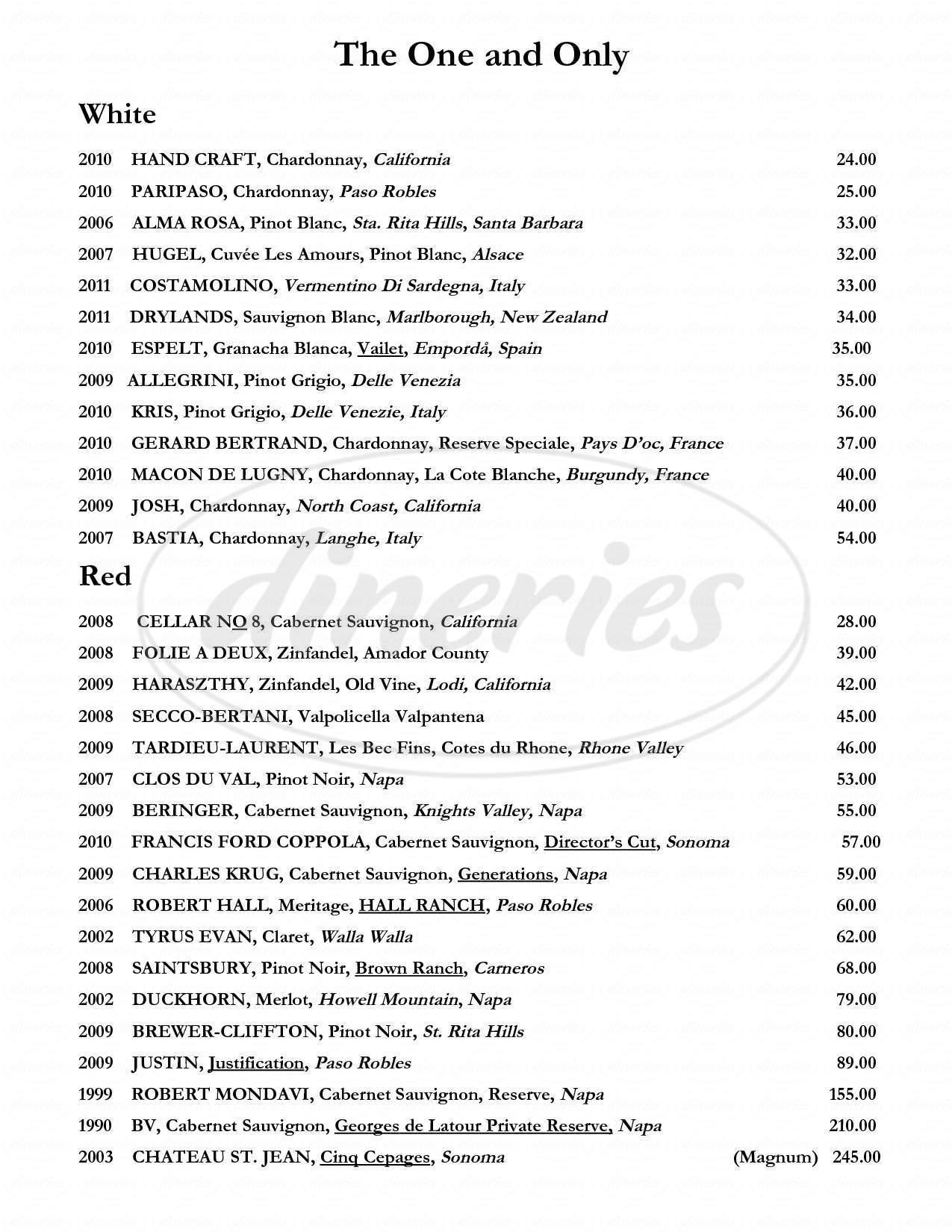 menu for 315 Restaurant and Wine Bar