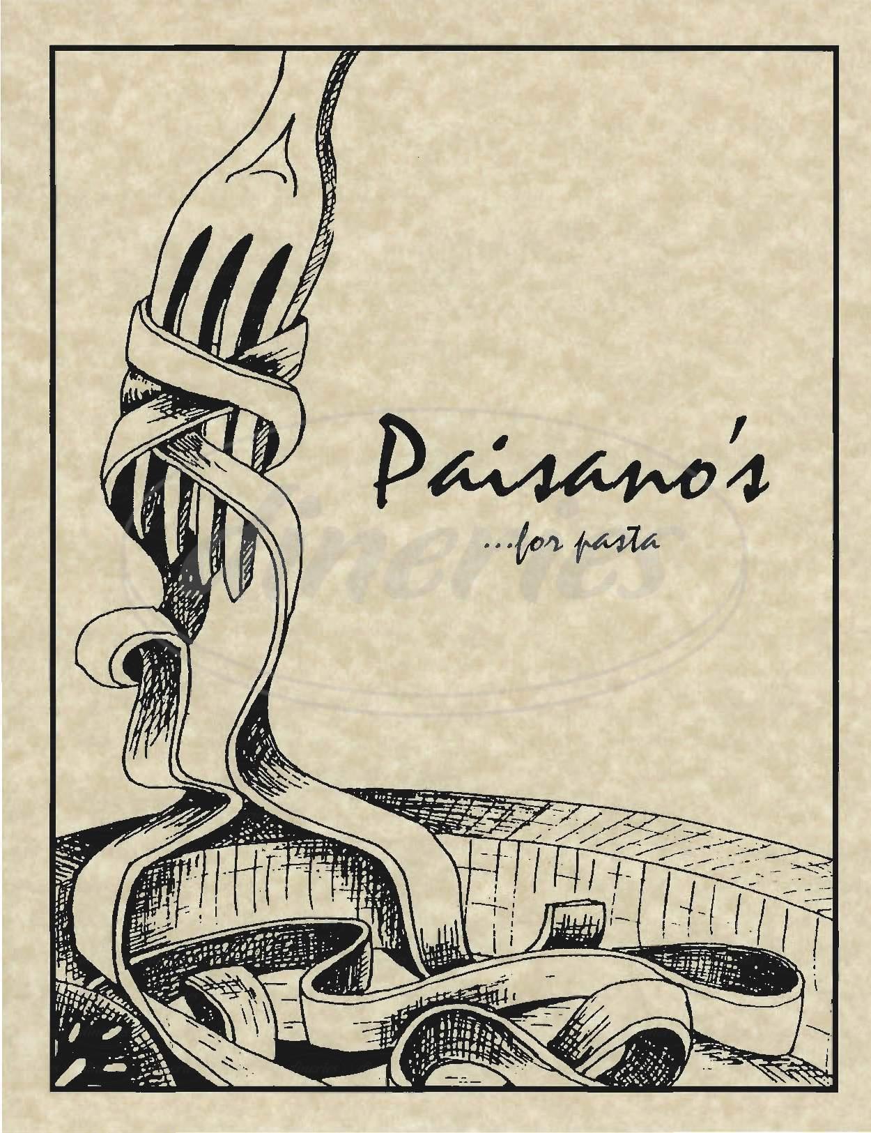 menu for Paisano's