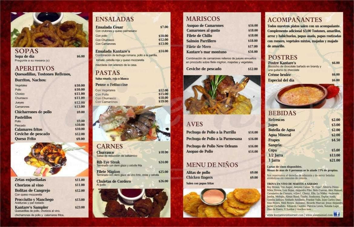 menu for Kantare's Restaurant Bar & Grill