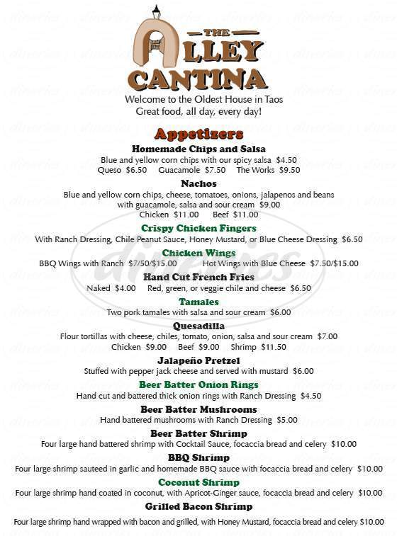 menu for Alley Cantina the Taos Plaza