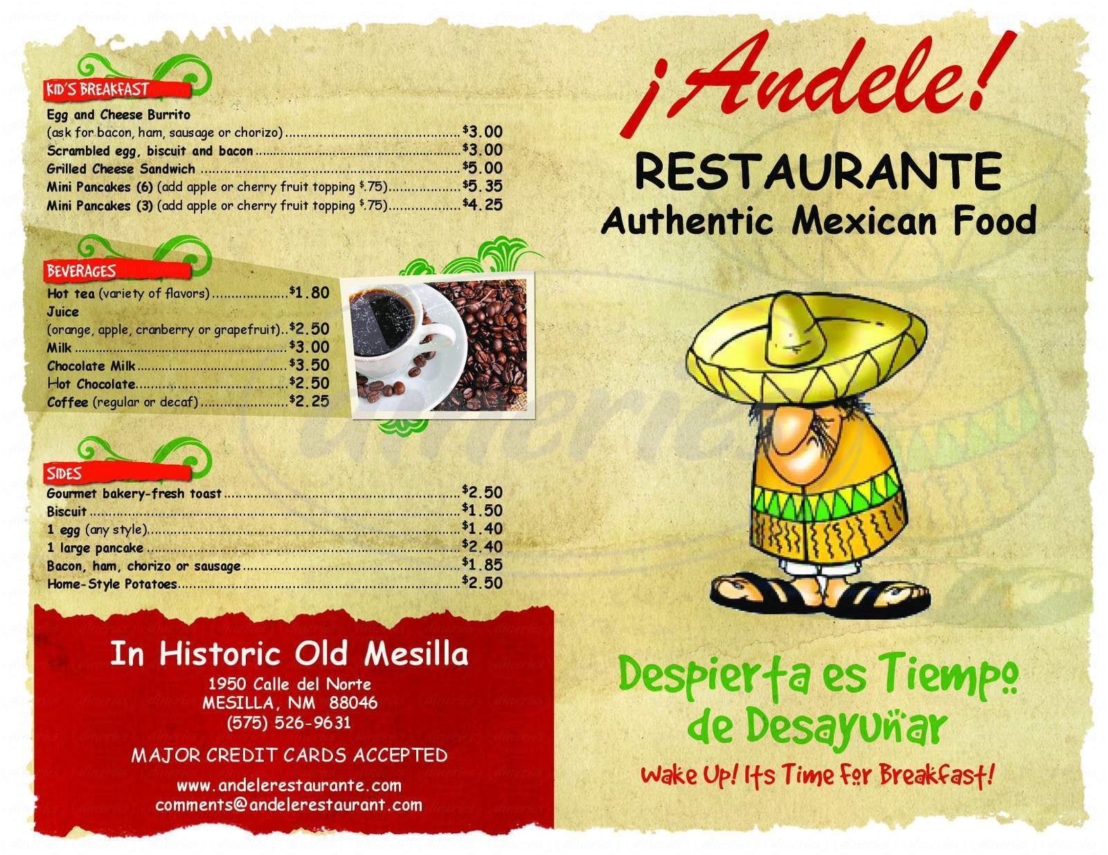 menu for Andele's