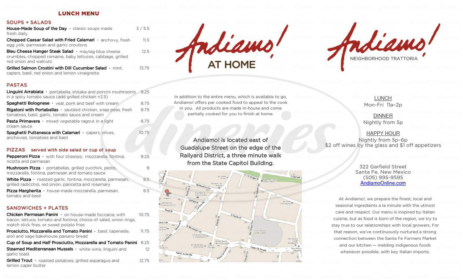 menu for Andiamo