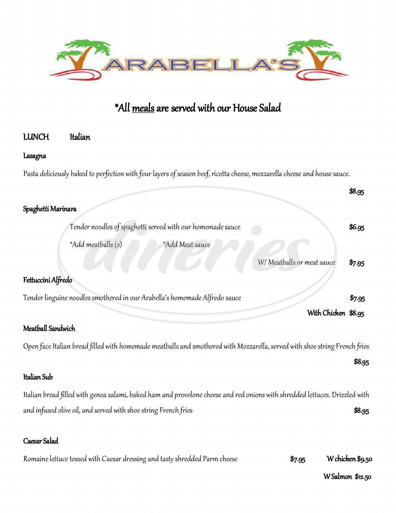 menu for Arabella's
