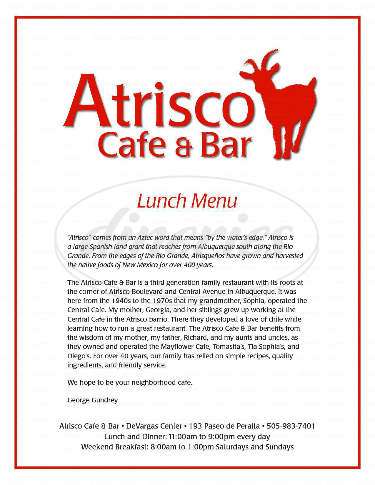 menu for Atrisco Cafe & Bar