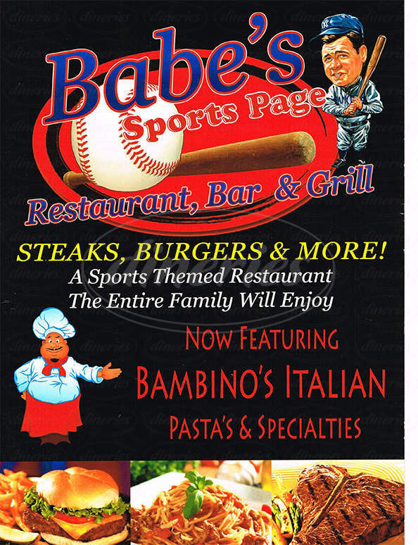menu for Babe's Sports Page Bar and Grill