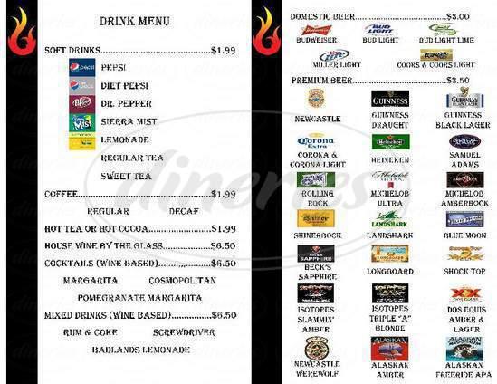 menu for Badlands Grill