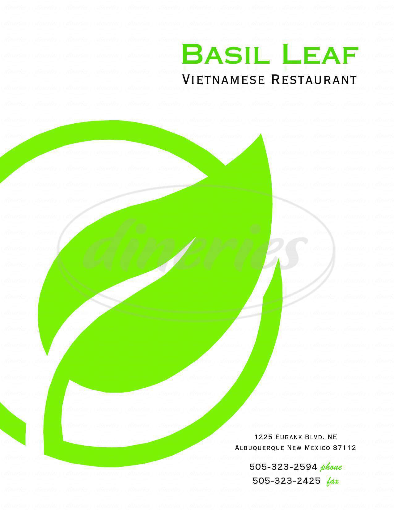 menu for Basil Leaf Vietnamese Restaurant
