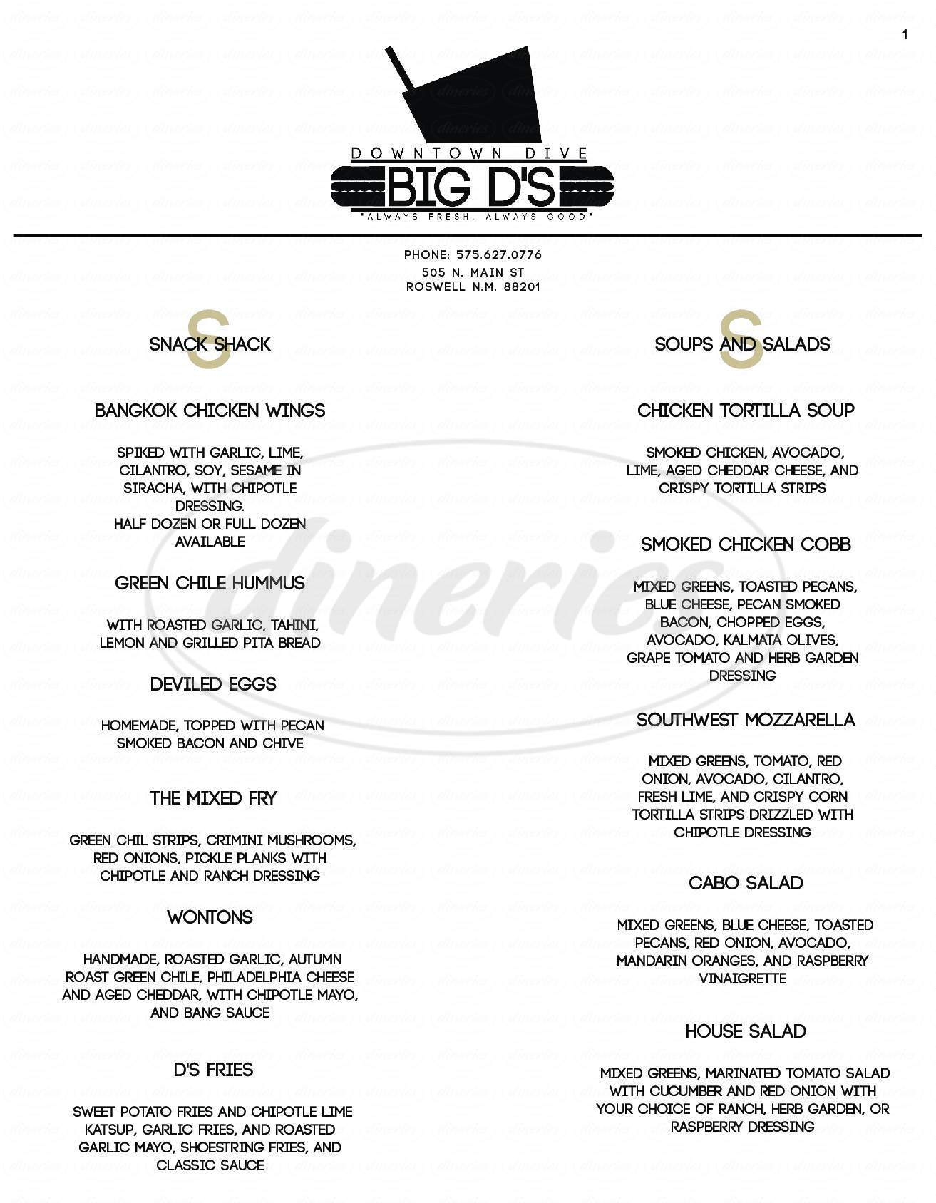 menu for Big D's Downtown Dive