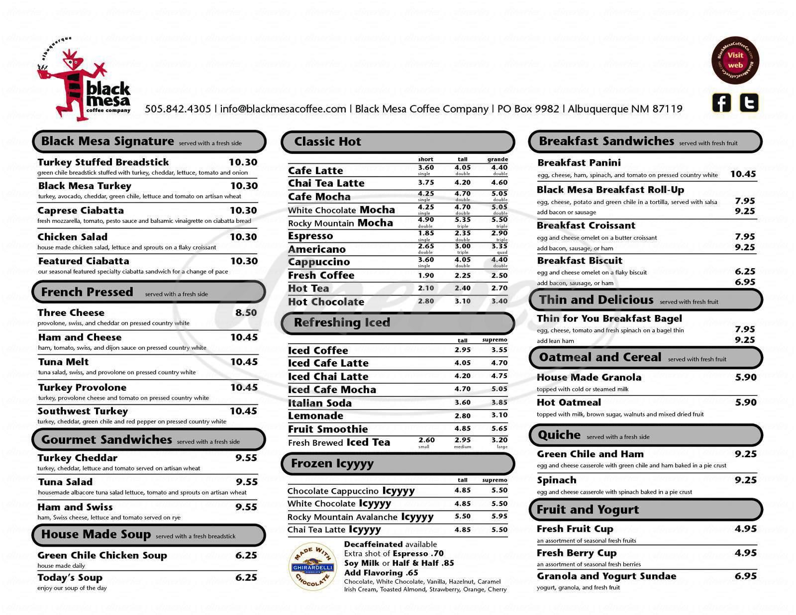 menu for Black Mesa Coffee Company