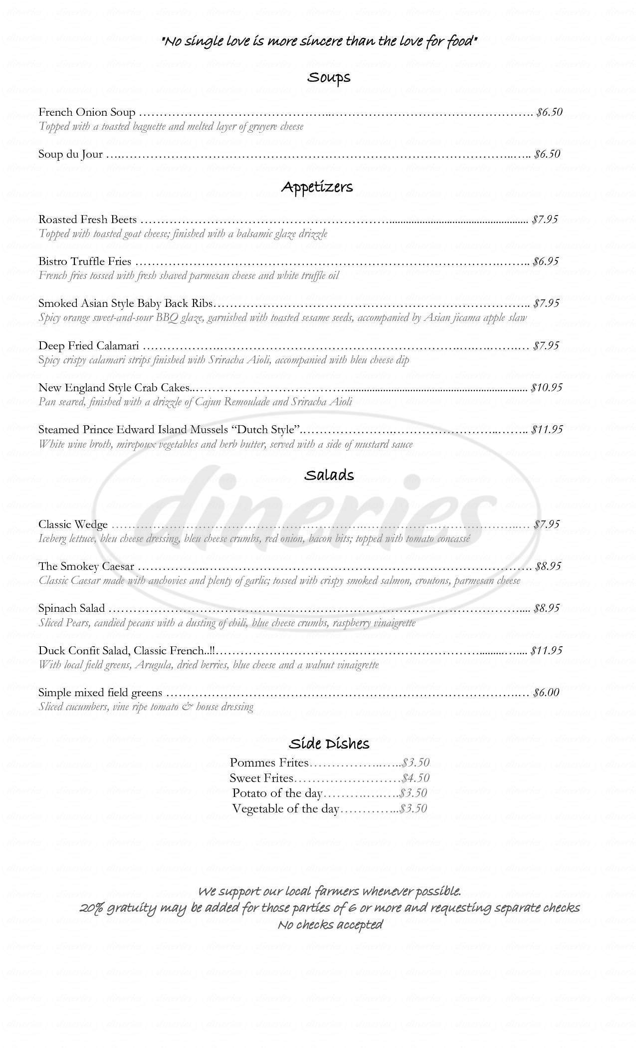 menu for Blades' Bistro