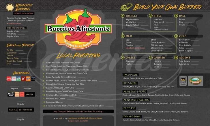 menu for Burritos Alinstante