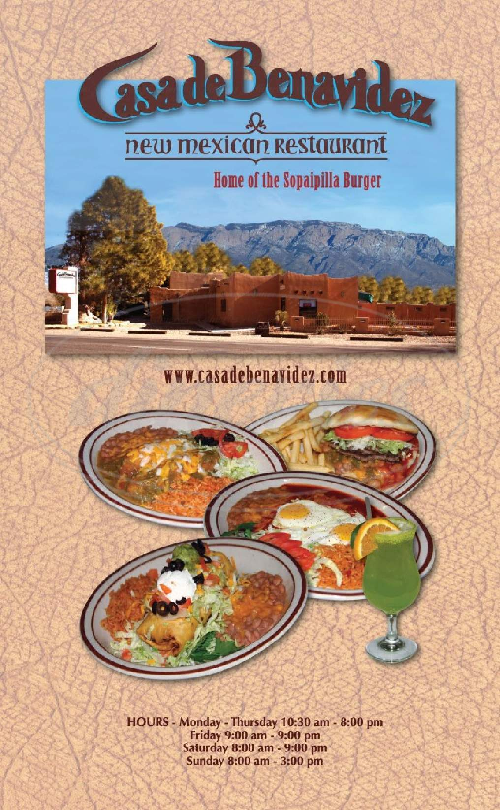 menu for Casa De Benavidez