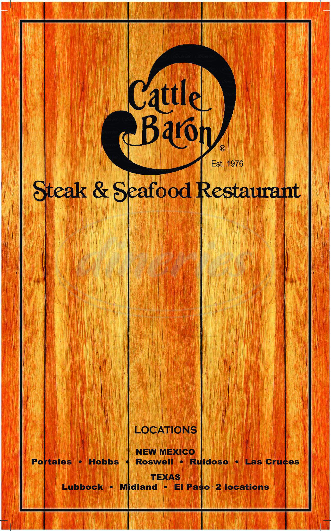 menu for Cattle Baron