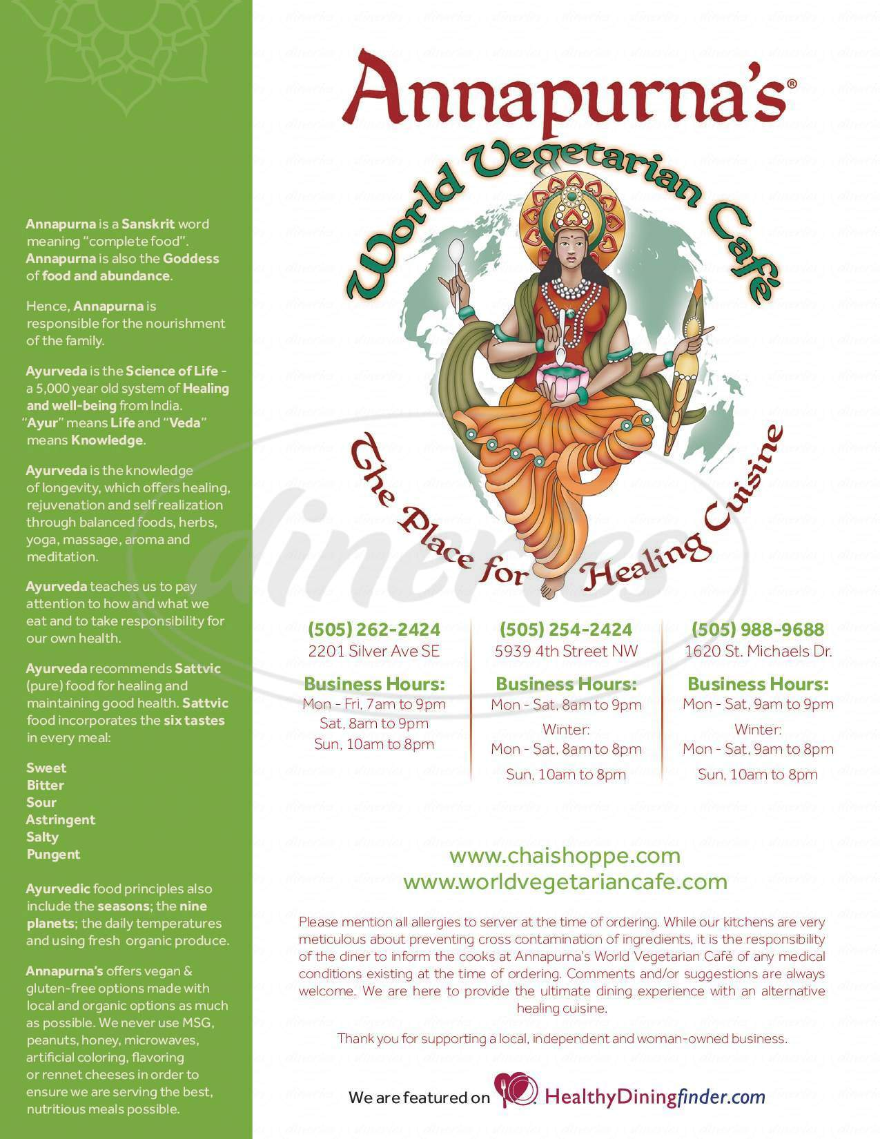 menu for Annapurna's World Vegetarian Cafe