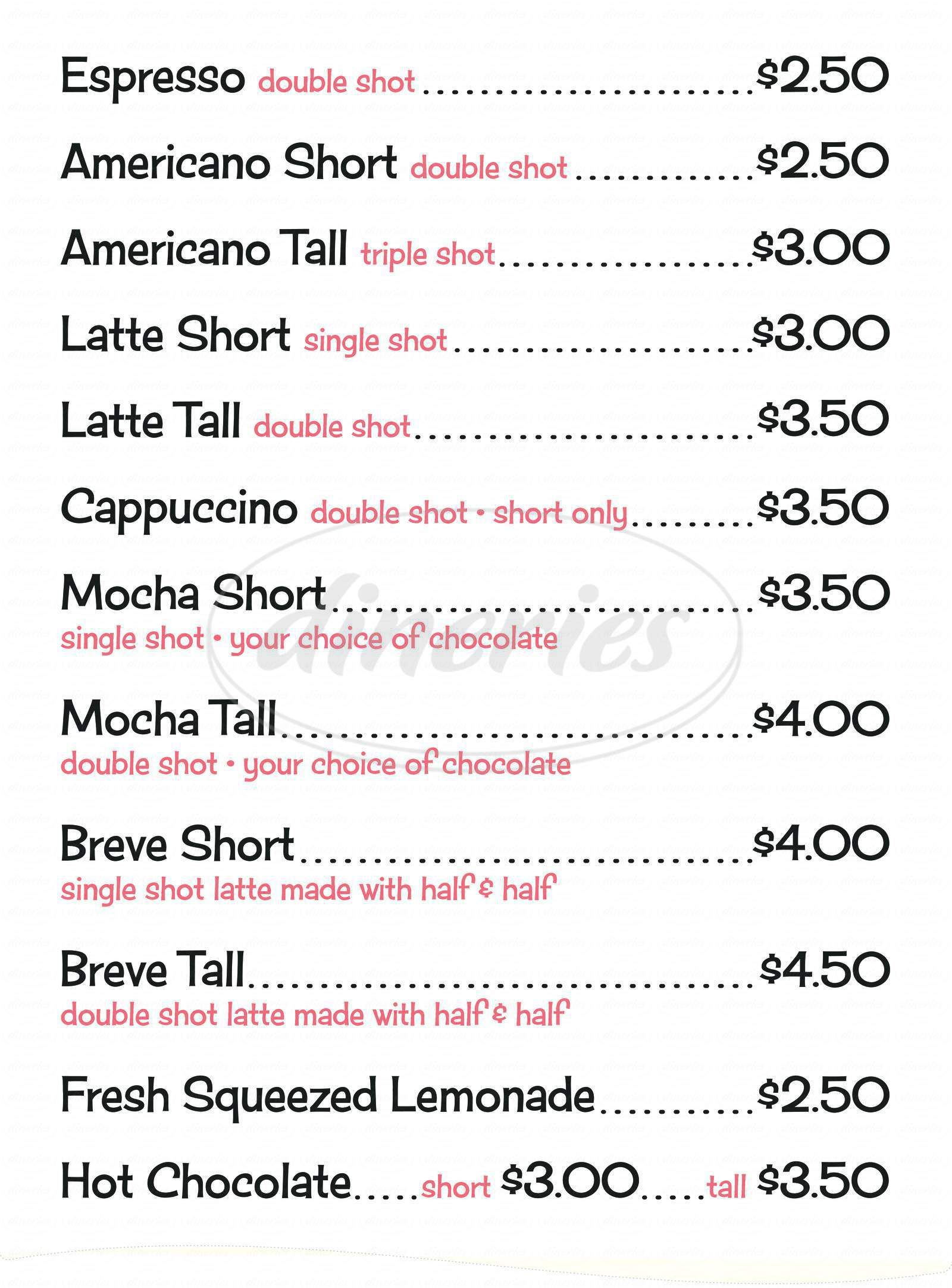 menu for Chocolate Dude Coffee & Candy