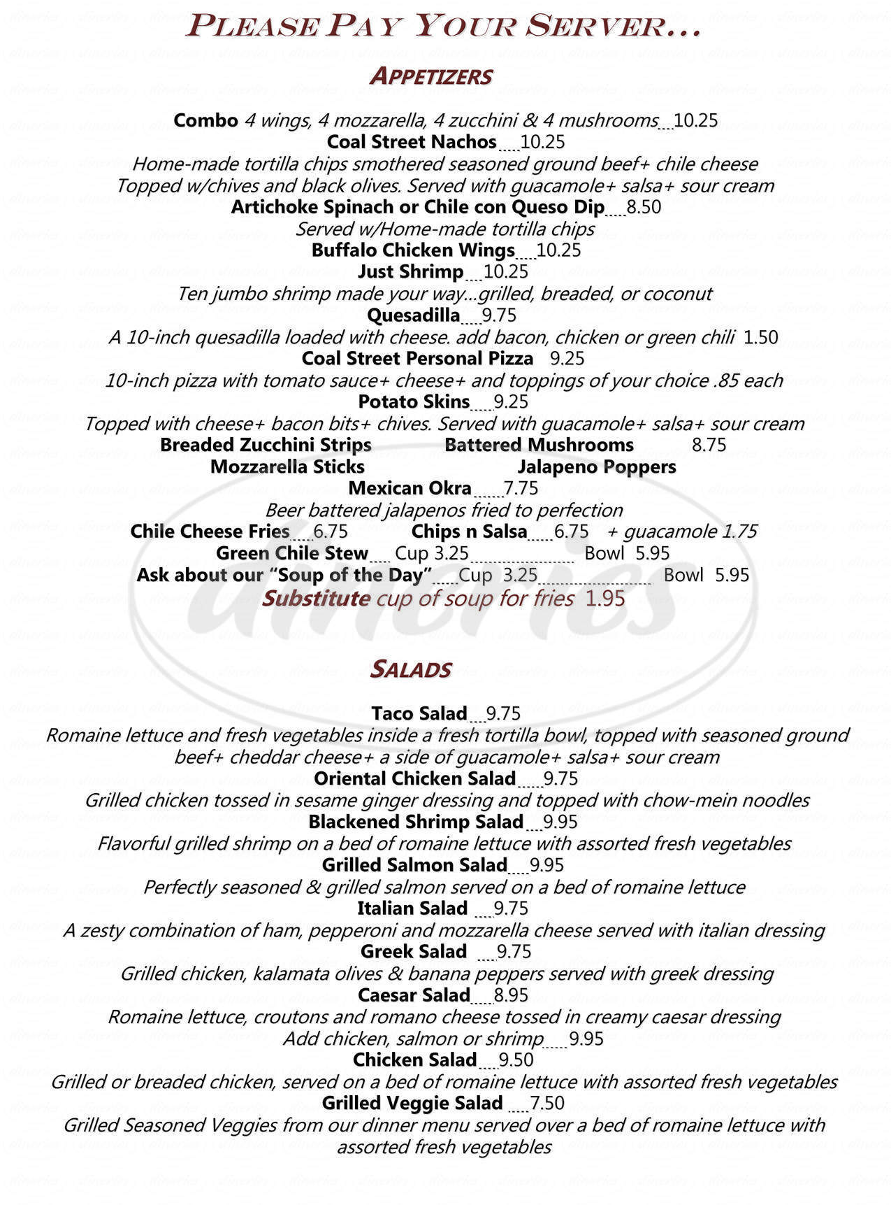 menu for Coal Street Pub