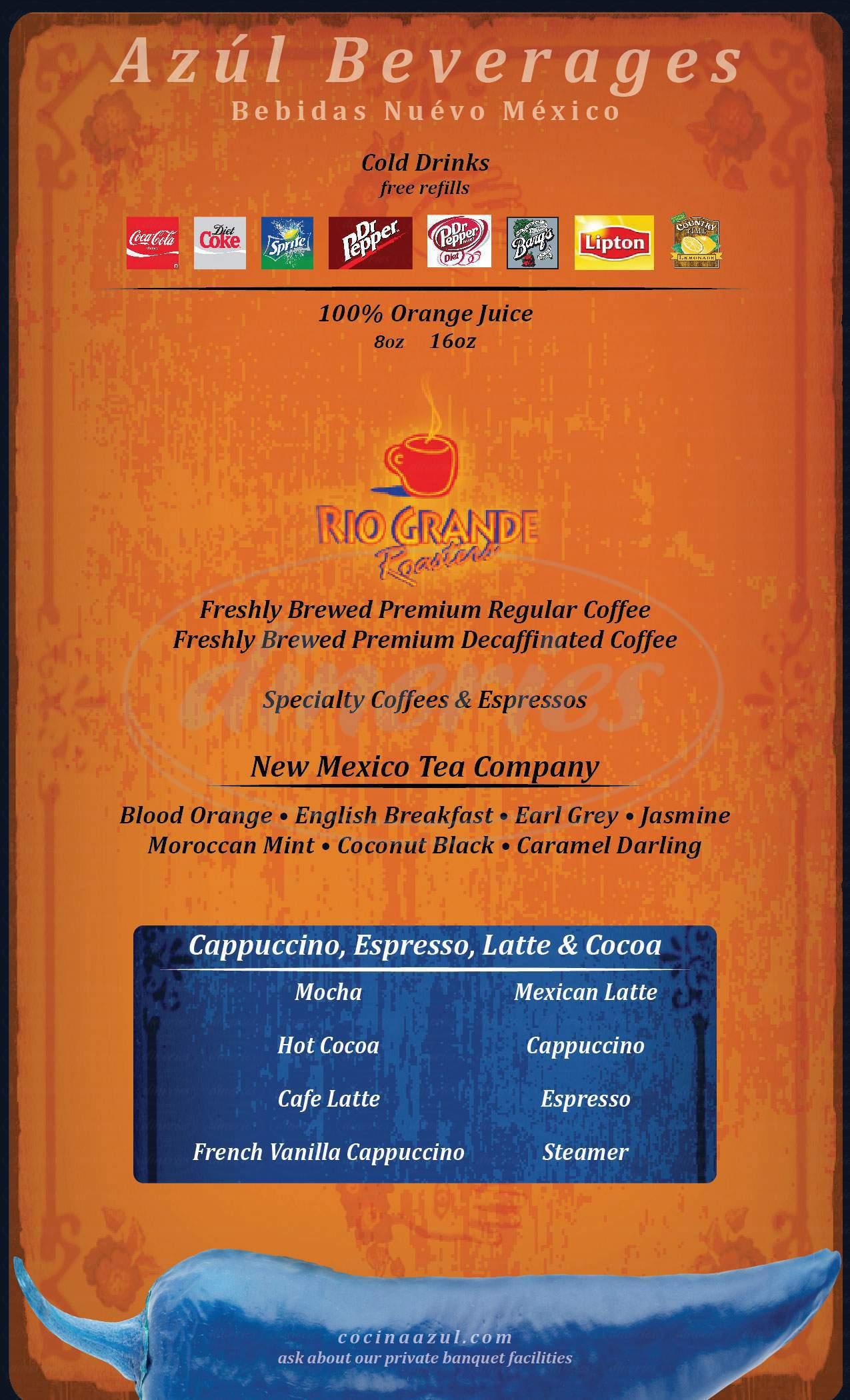 menu for Cocina Azul