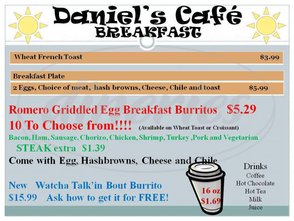 menu for Daniel's Cafe