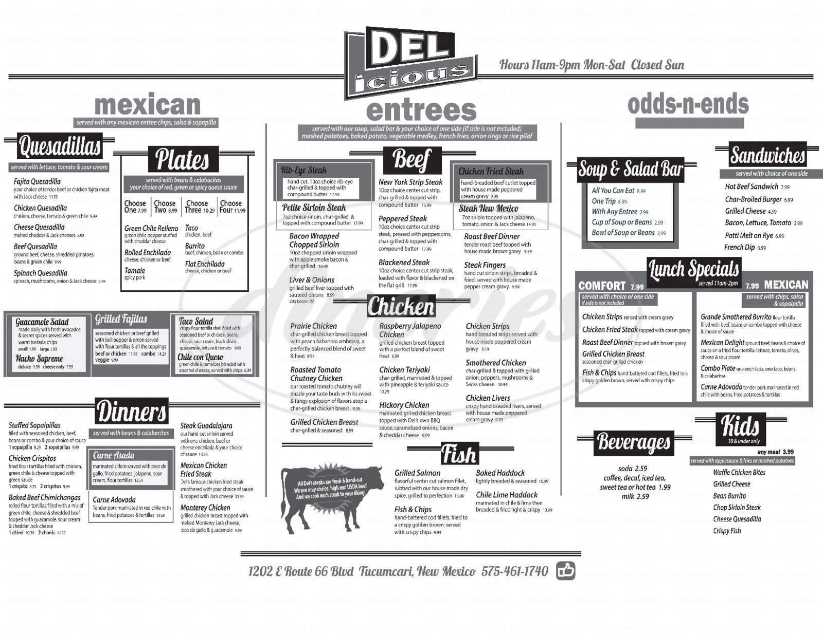 menu for Del's Restaurant