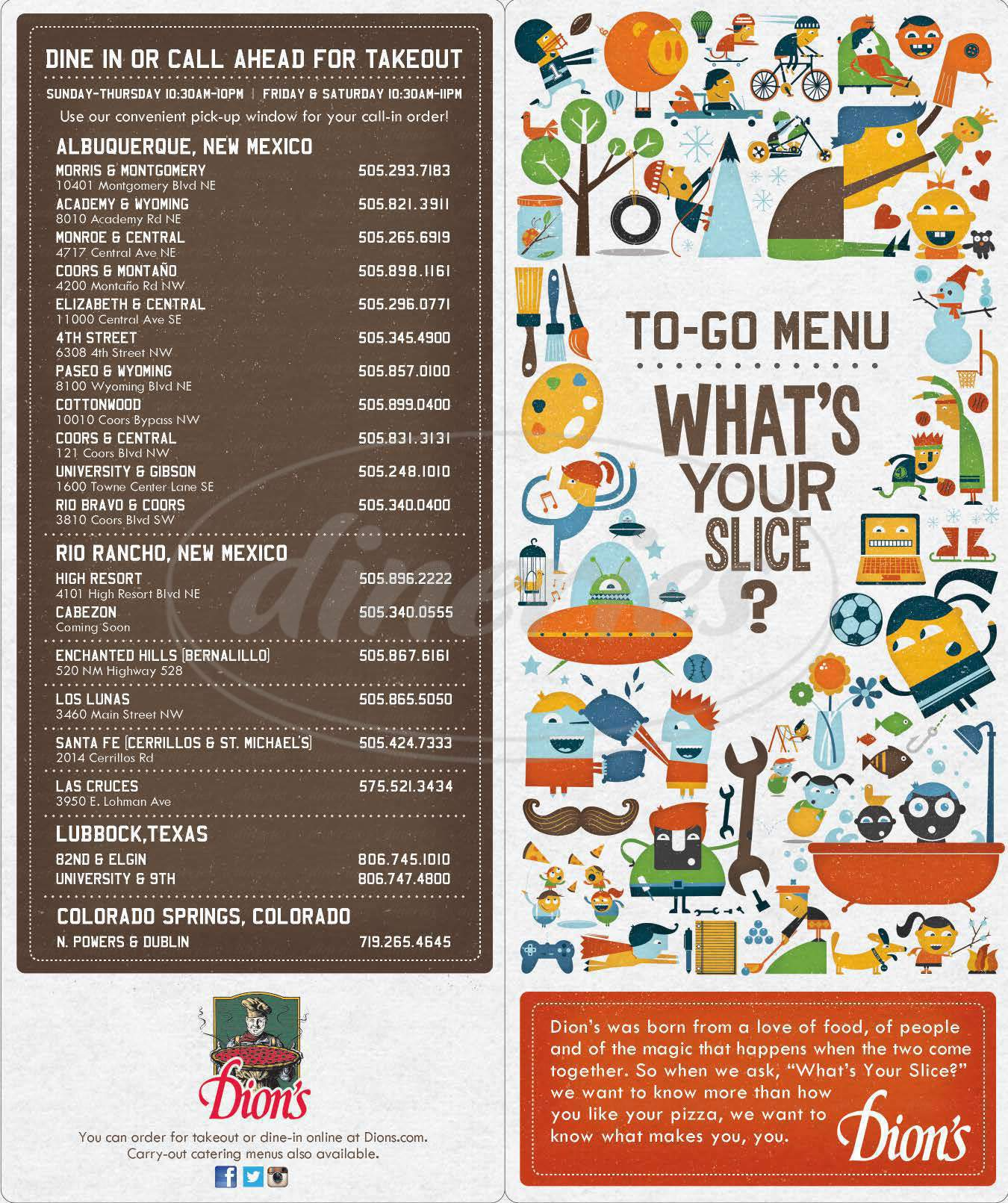 menu for Dion's