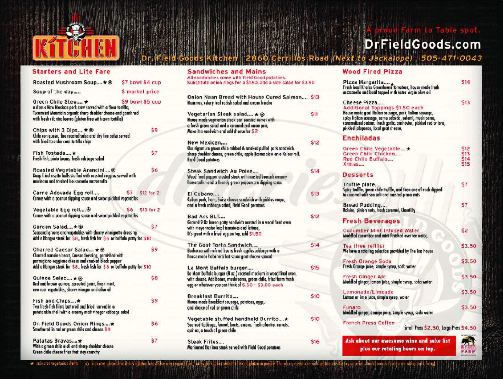 menu for Dr. Field Goods Kitchen