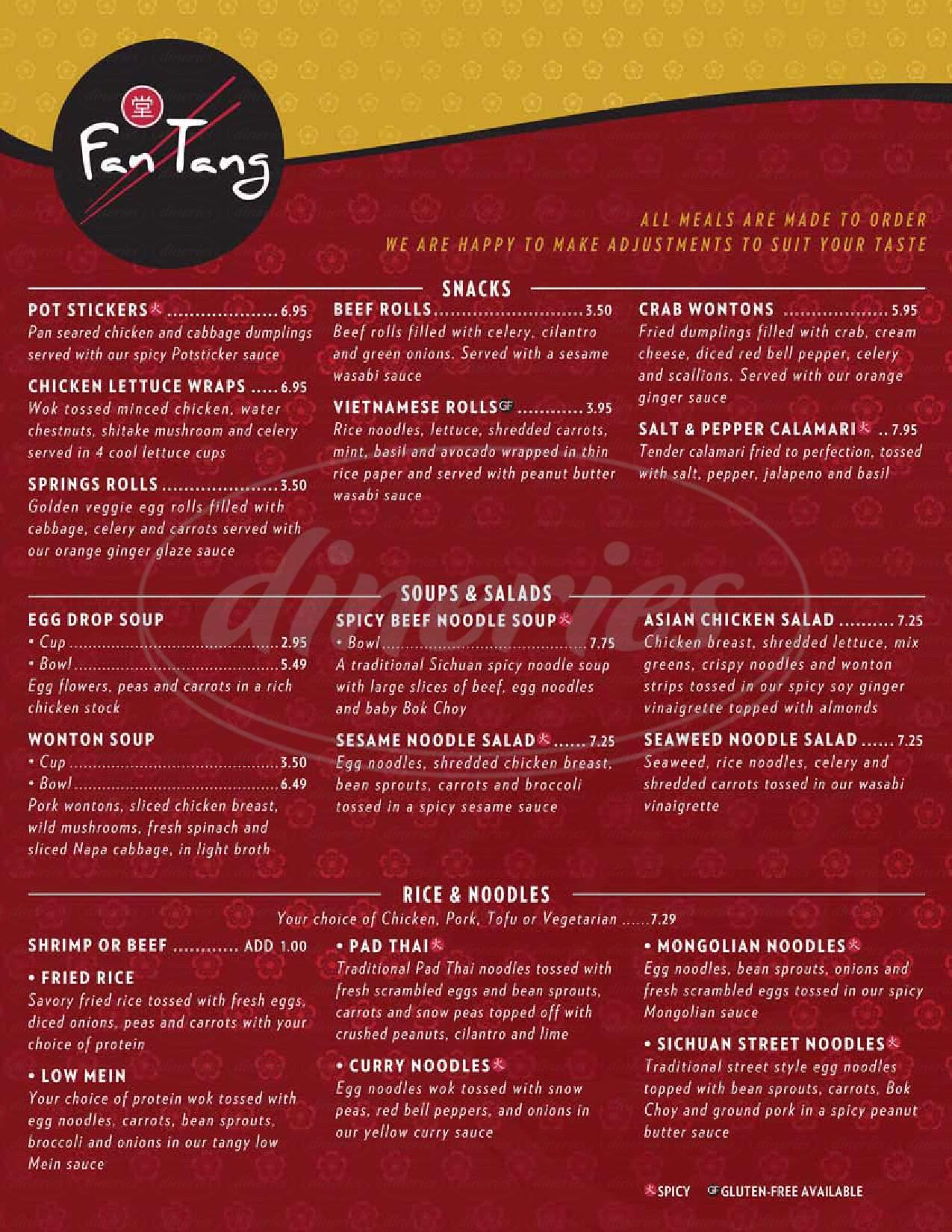 menu for Fan Tang
